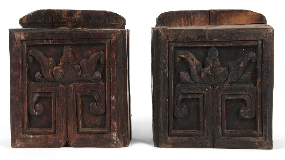 Pair of Antique Chinese Carved Wood Column Tops - 4