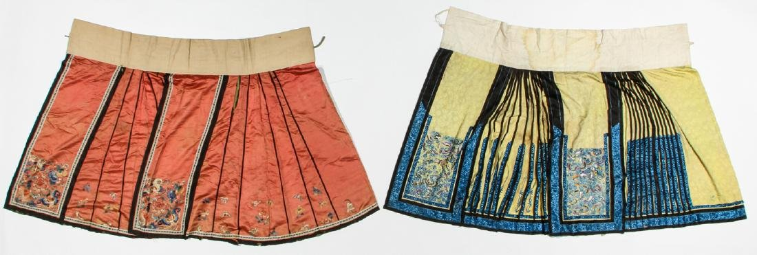 2 Antique Chinese Silk Embroidered Skirts