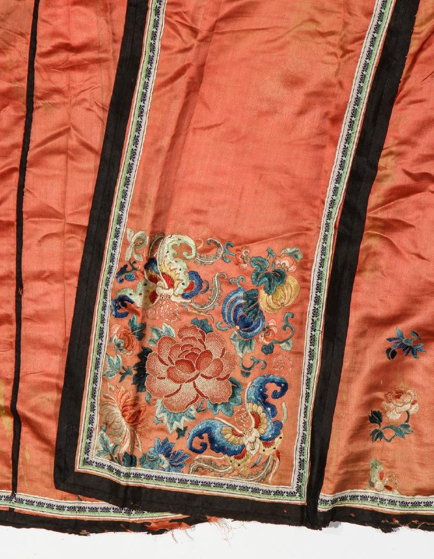 2 Antique Chinese Silk Embroidered Skirts - 4