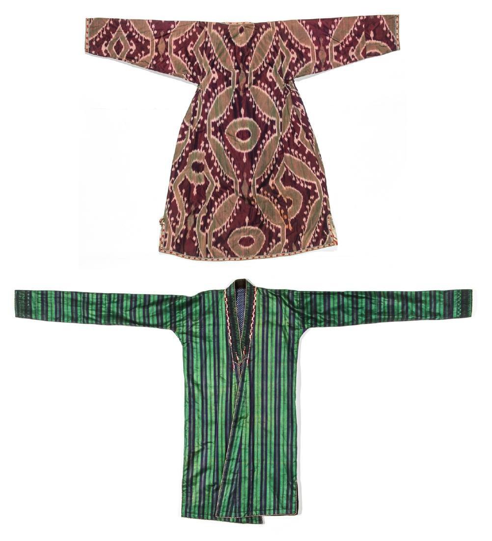 2 Antique Central Asian Silk Ikat Coat/Chapans
