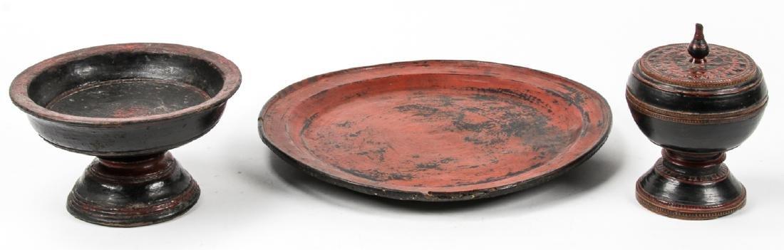 Three 19th C. Burmese Lacquerware