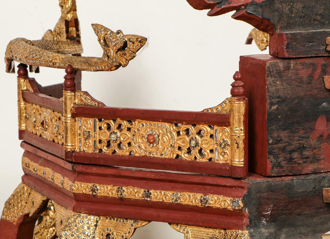 Large Old Buddhist Dhamma Preaching Chair, Burma - 7