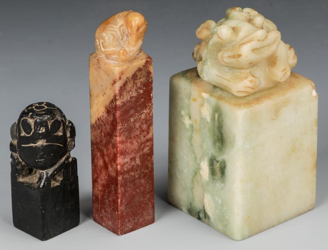 3 Chinese Hardstone Chops