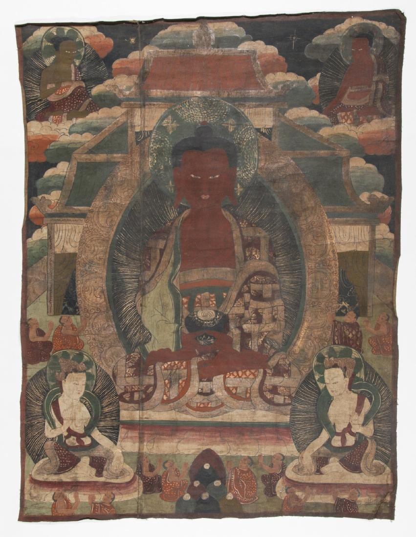 Large Old Buddhist Thangka