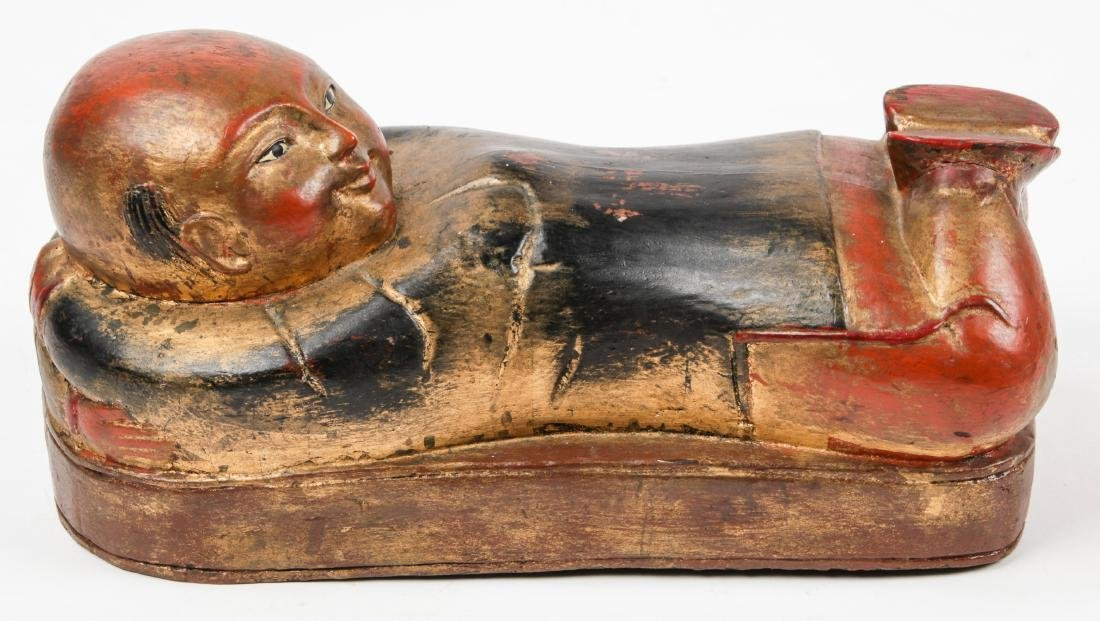 Antique Chinese Lacquered Wood Pillow