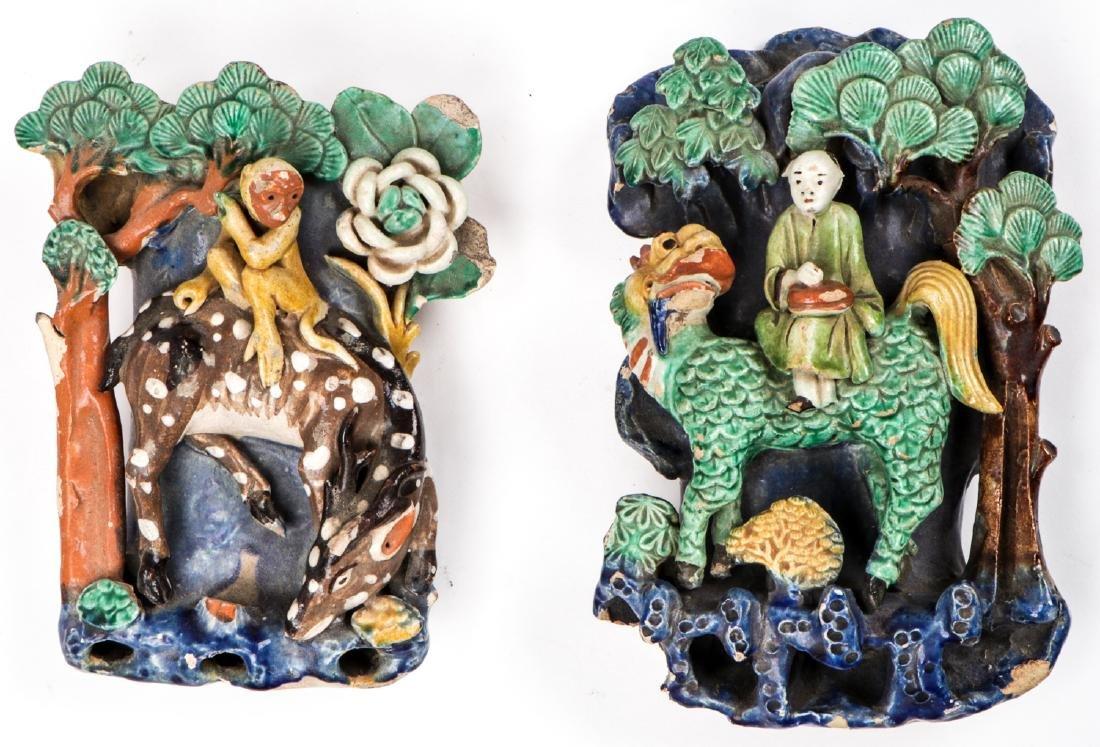 2 Antique Japanese Figural Roof Elements