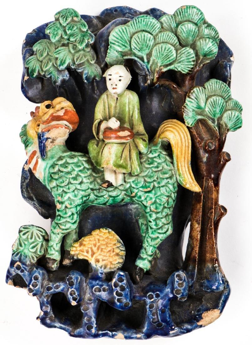 2 Antique Japanese Figural Roof Elements - 3
