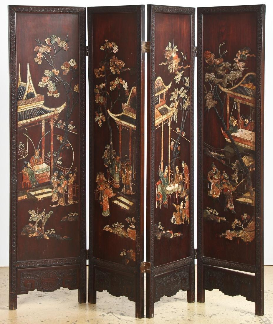 Chinese Stone Inlaid Coromandel Screen