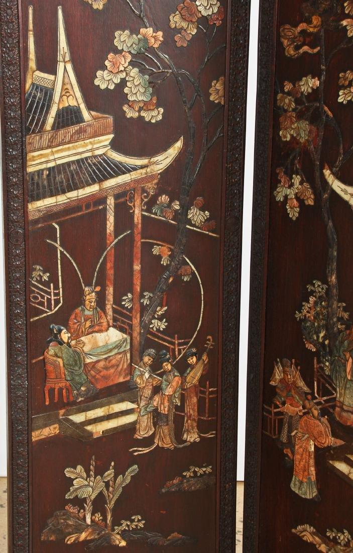 Chinese Stone Inlaid Coromandel Screen - 4