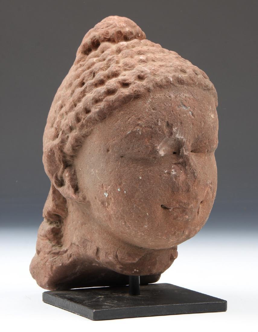 Red Sandstone Bust of Buddha, Gupta Period, 5th C.,