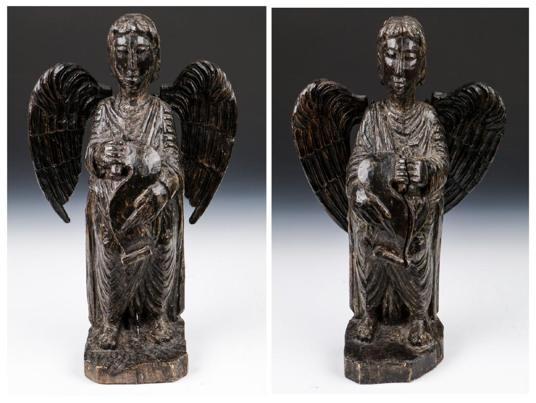 Pair of Carved Wood Angels, Umbria, Ca. 1550
