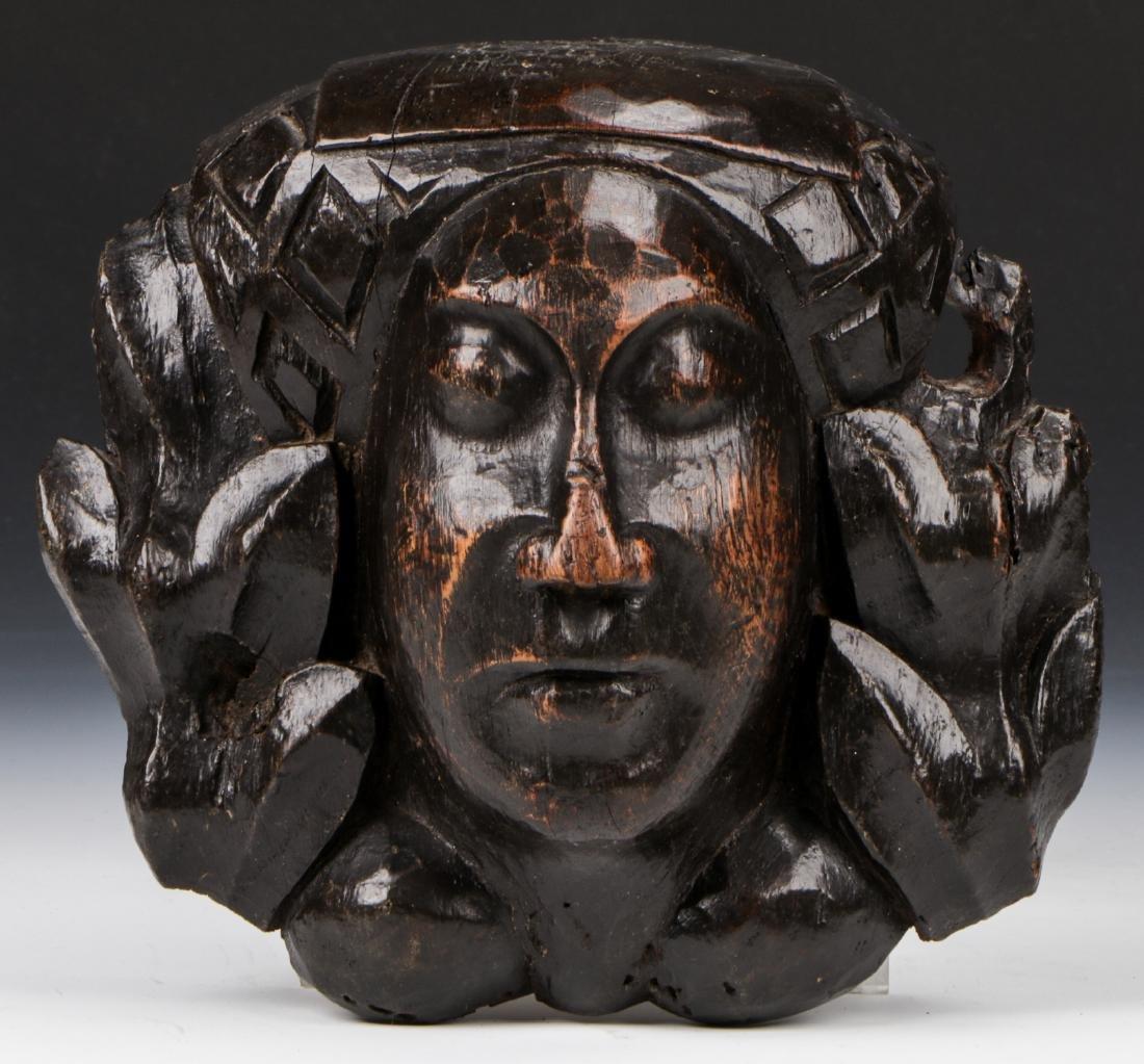 15th C. Carved Oak Head, East Anglia