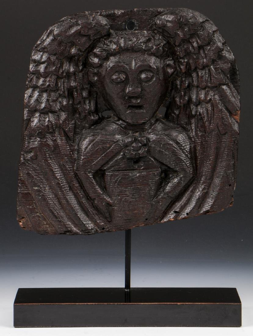 16th C. Carved Winged Angel, English Oak