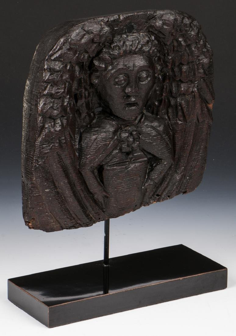 16th C. Carved Winged Angel, English Oak - 2