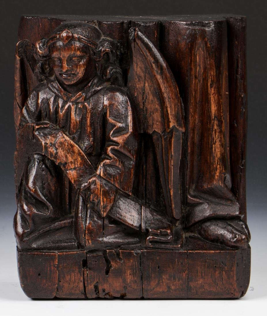 17th C. Carving of Matthew the Angel, French Oak