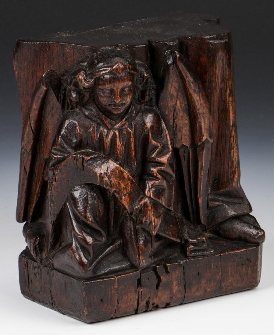 17th C. Carving of Matthew the Angel, French Oak - 2