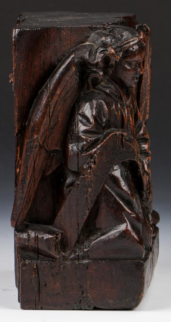 17th C. Carving of Matthew the Angel, French Oak - 3