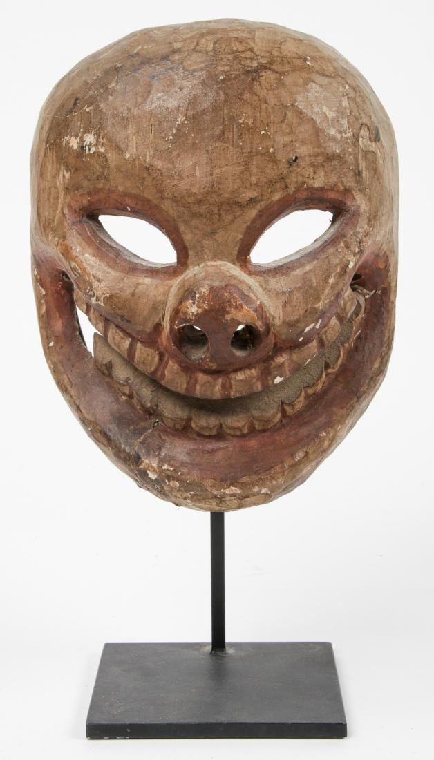 Himalayan Carved Wood Skull Mask, Possibly Tibetan