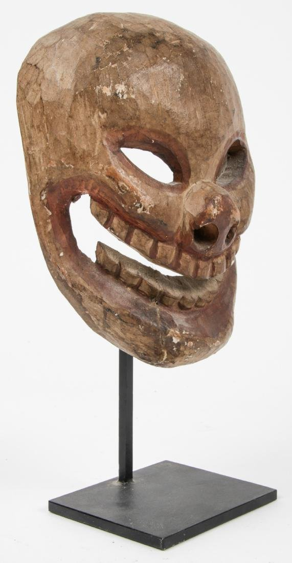 Himalayan Carved Wood Skull Mask, Possibly Tibetan - 2