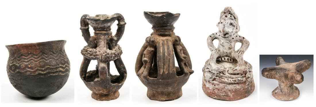 Collection of 5 Old African & PNG Pottery Forms