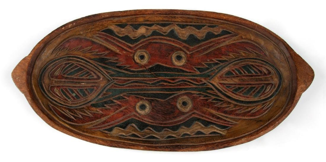Old PNG Carved Wood Tray w. Paint