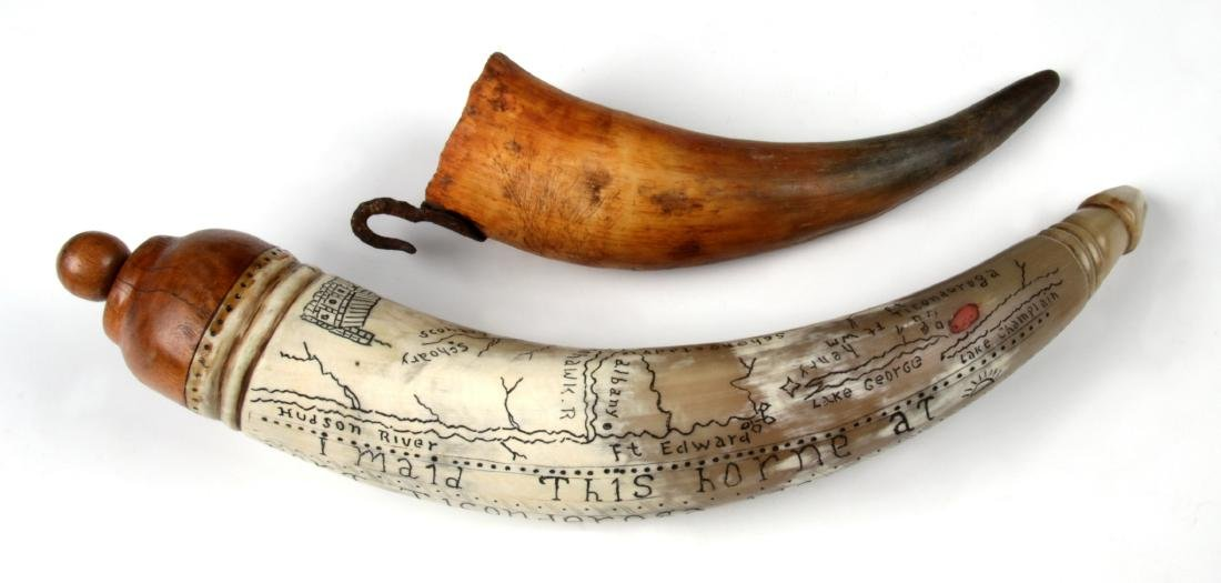 2 Antique Scrimshaw Powder Horns