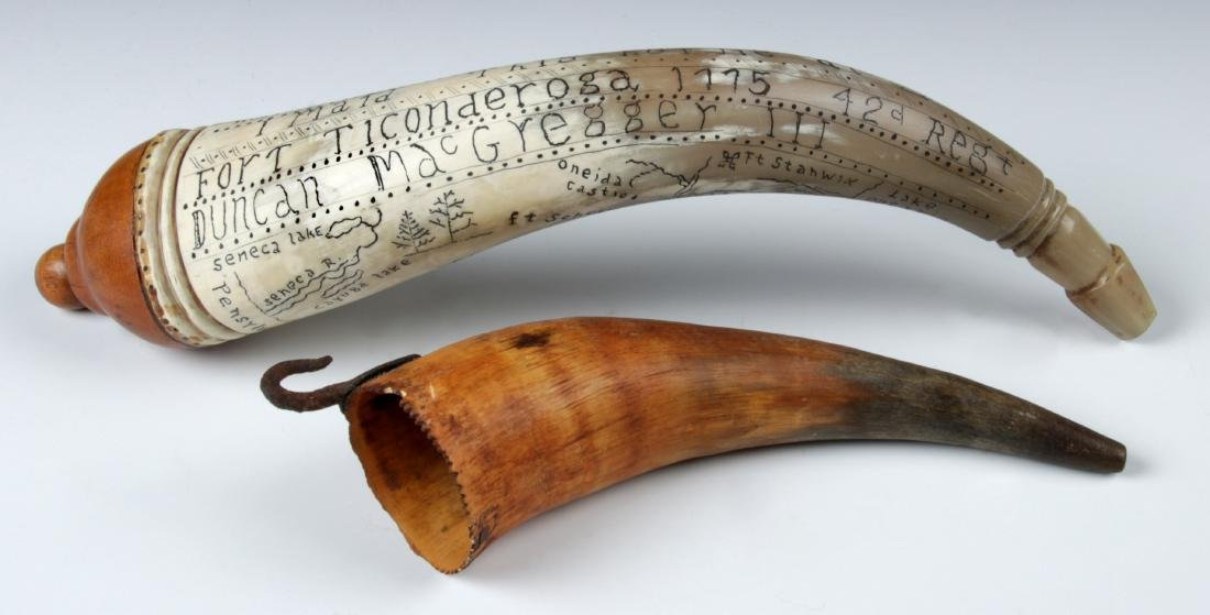2 Antique Scrimshaw Powder Horns - 2