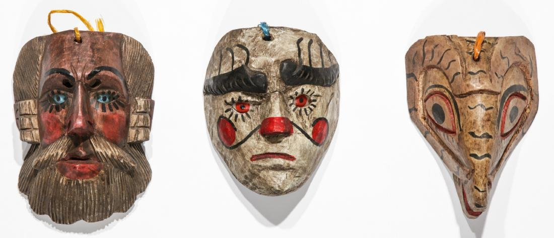 6 Vintage Mexican Festival Masks - 2