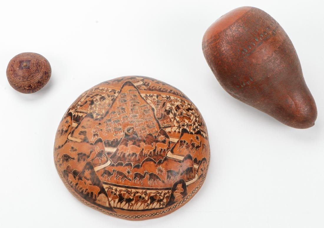 3 Vintage Highly Detailed Incised Gourds, Peru