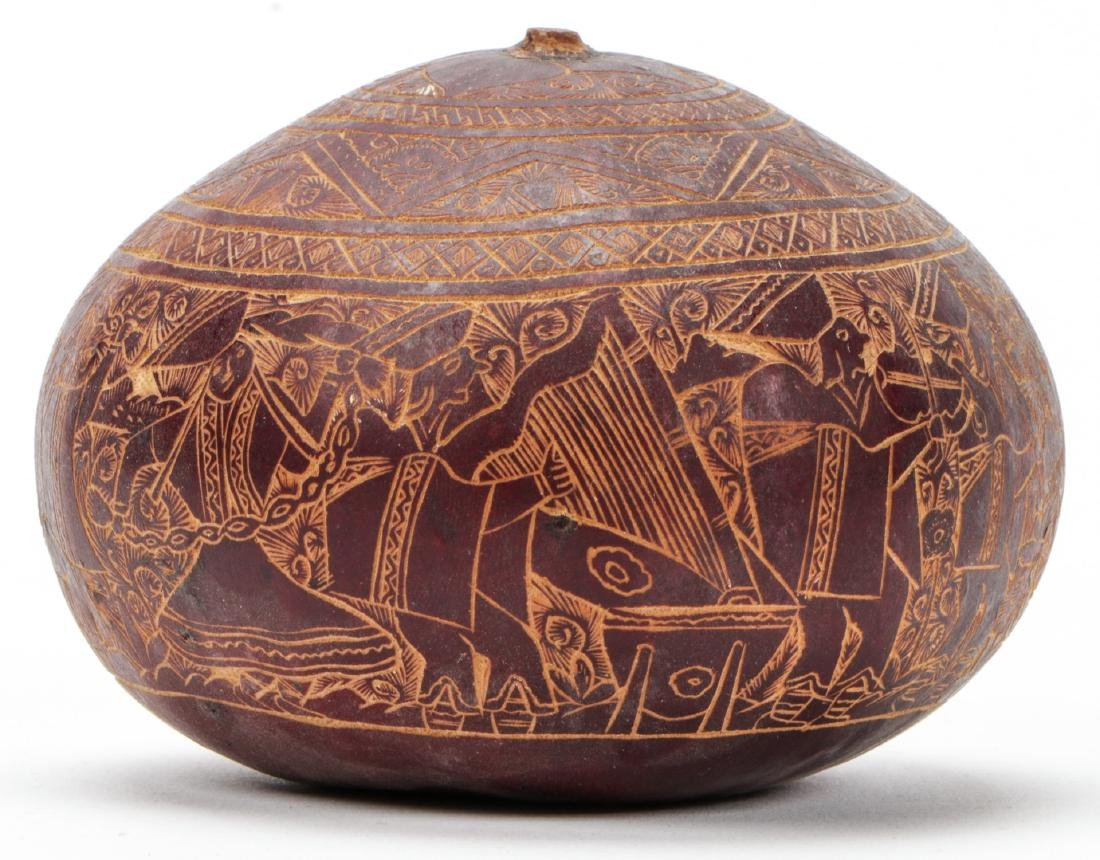 3 Vintage Highly Detailed Incised Gourds, Peru - 4