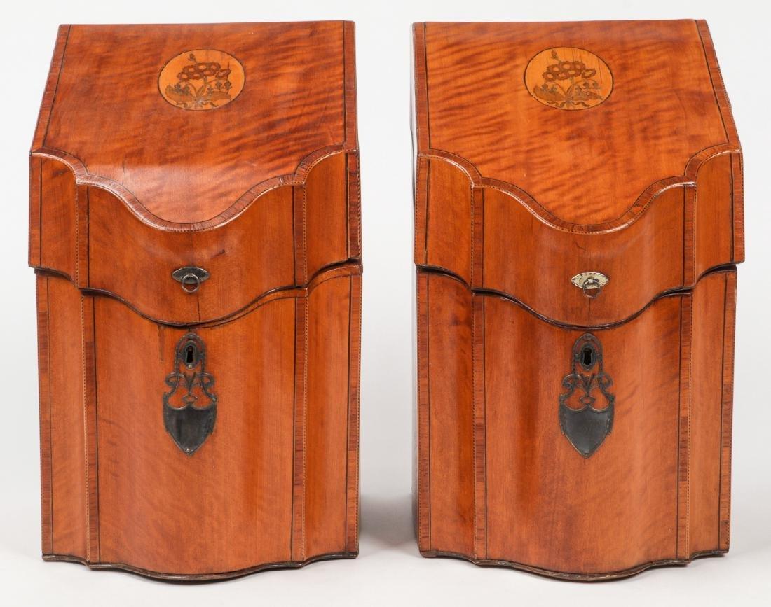 2 Silver Mounted Georgian Cutlery Boxes
