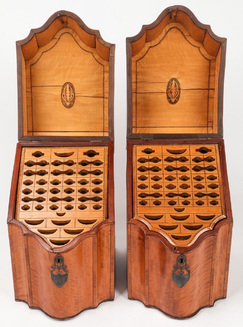 2 Silver Mounted Georgian Cutlery Boxes - 2