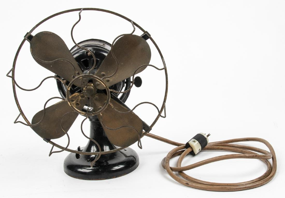 Antique Westinghouse Cast Iron Fan with Brass Blades
