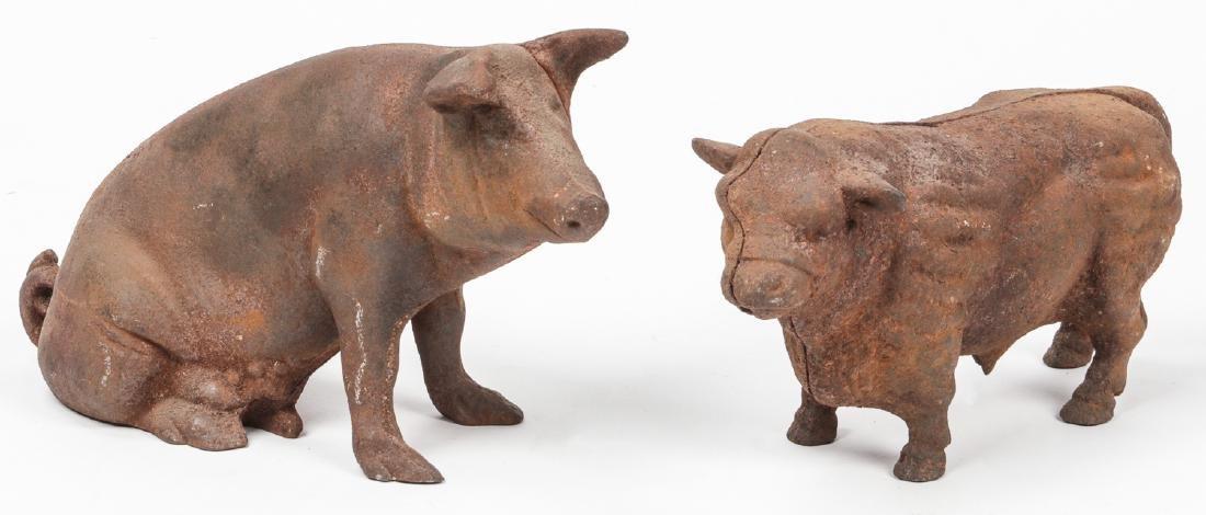 2 Antique Cast Iron Bovine and Pig Banks
