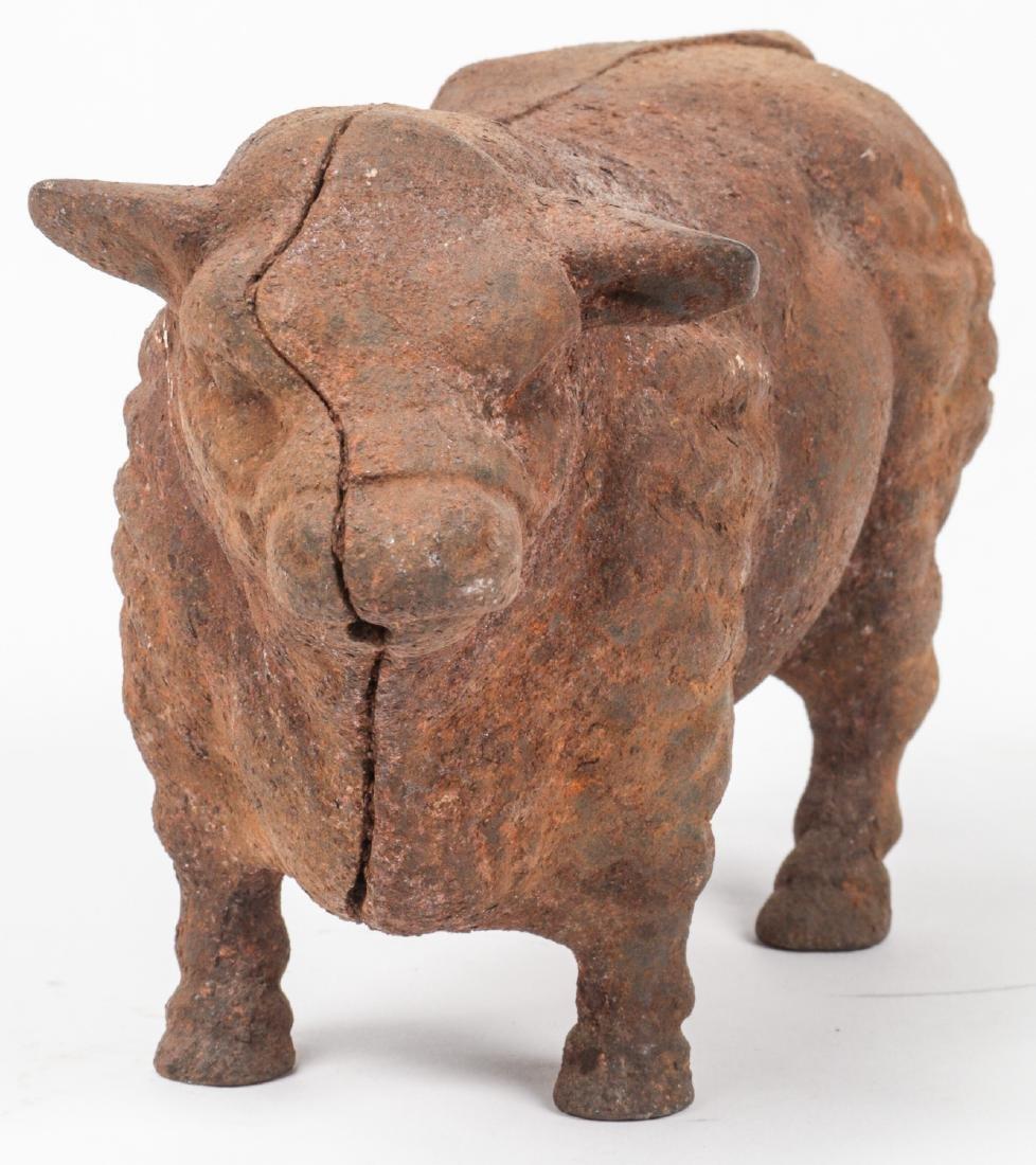 2 Antique Cast Iron Bovine and Pig Banks - 6