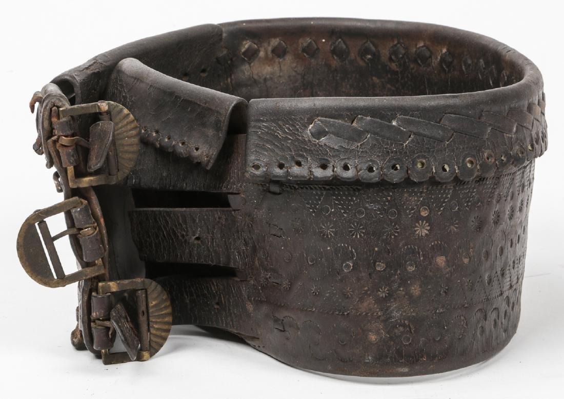 Antique Balkan Leather Mountaineers Belt - 5
