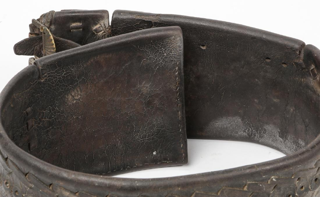 Antique Balkan Leather Mountaineers Belt - 6