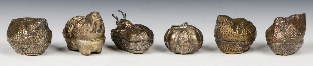6 Thai/Cambodian Silver Betel Nut Boxes