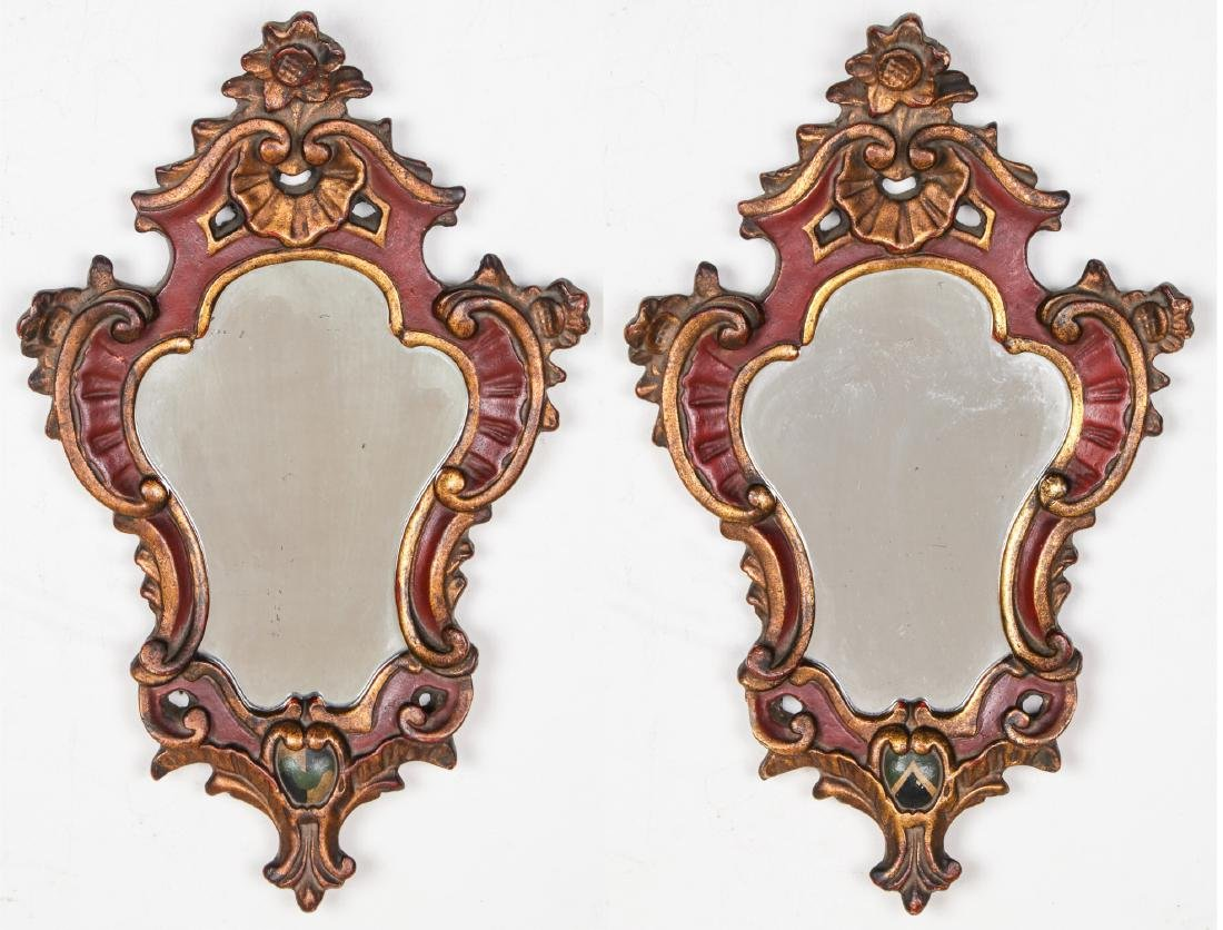 Pair of Carved Wood Mirrors