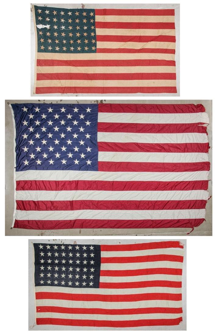 3 Large Vintage American Flags