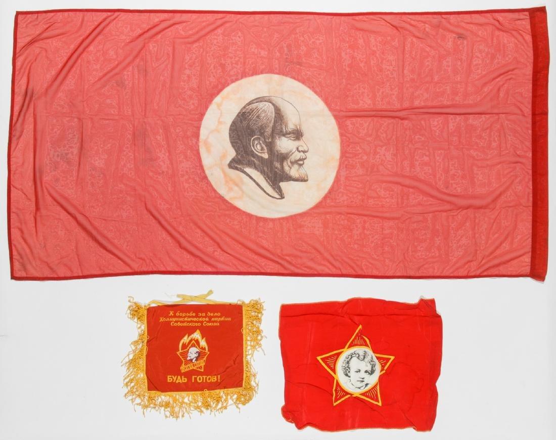 3 Soviet Era Russian USSR Flags