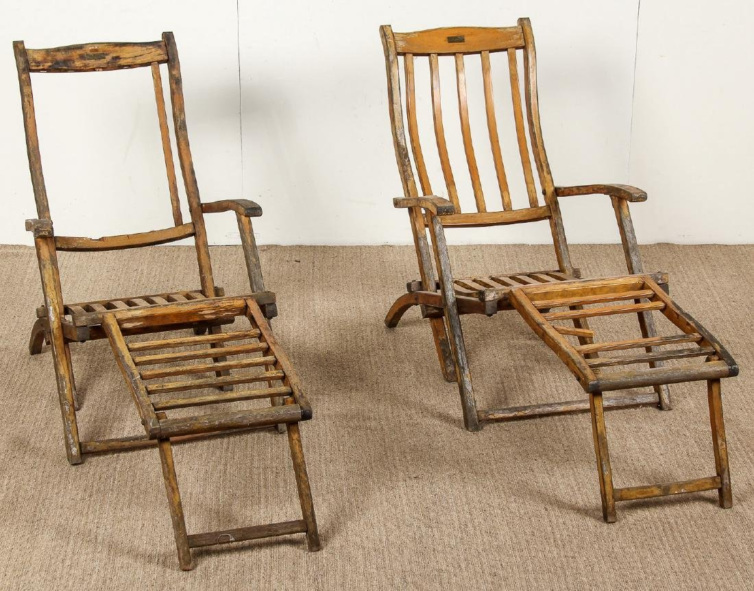 2 Deck Chairs from the RMS Queen Mary Ocean Liner