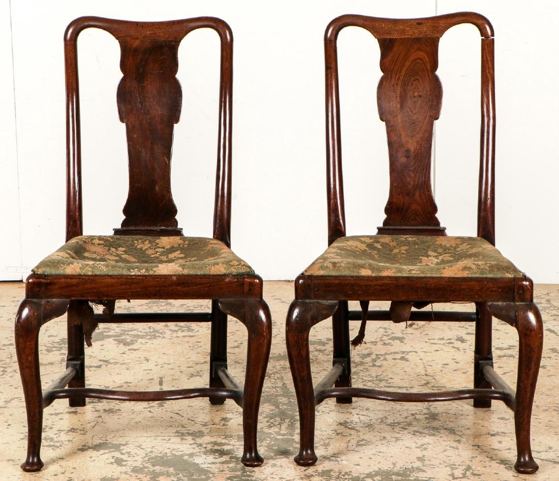 Pair of Antique English Queen Ann Side Chairs