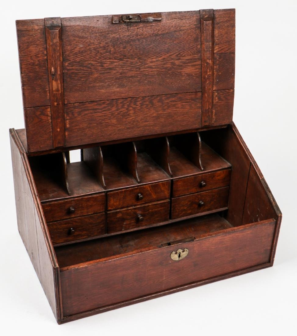 Early American Laptop Desk w. Compartments & Drawers - 2