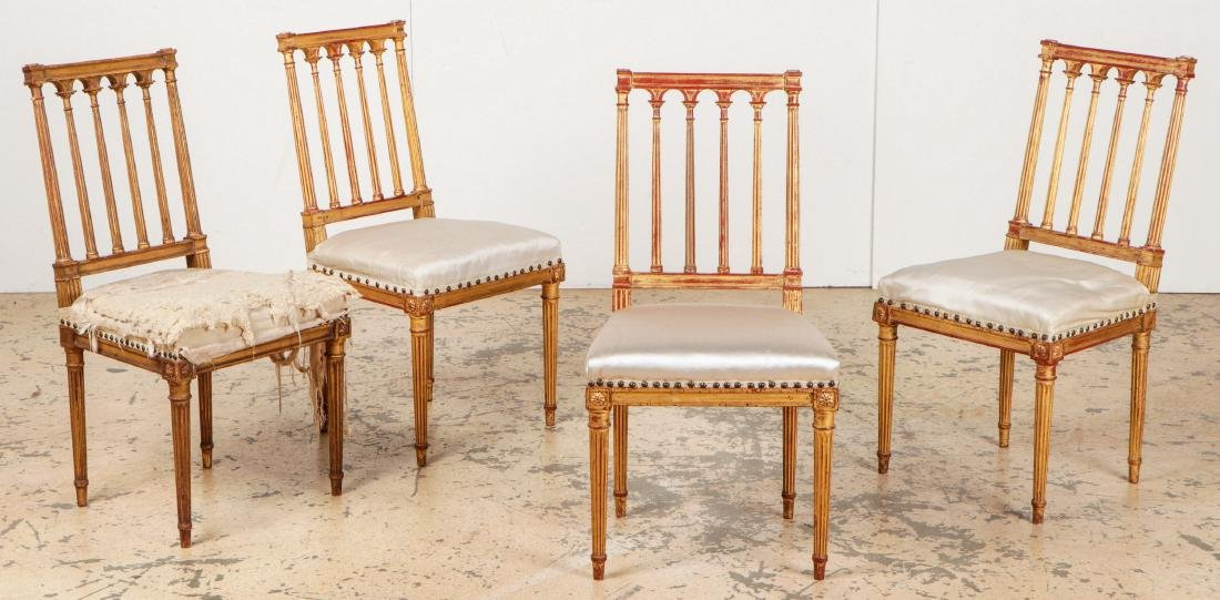 4 Louis XVI Style Gilt Chairs