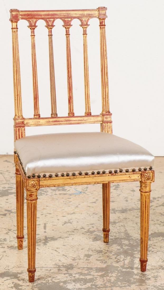 4 Louis XVI Style Gilt Chairs - 2