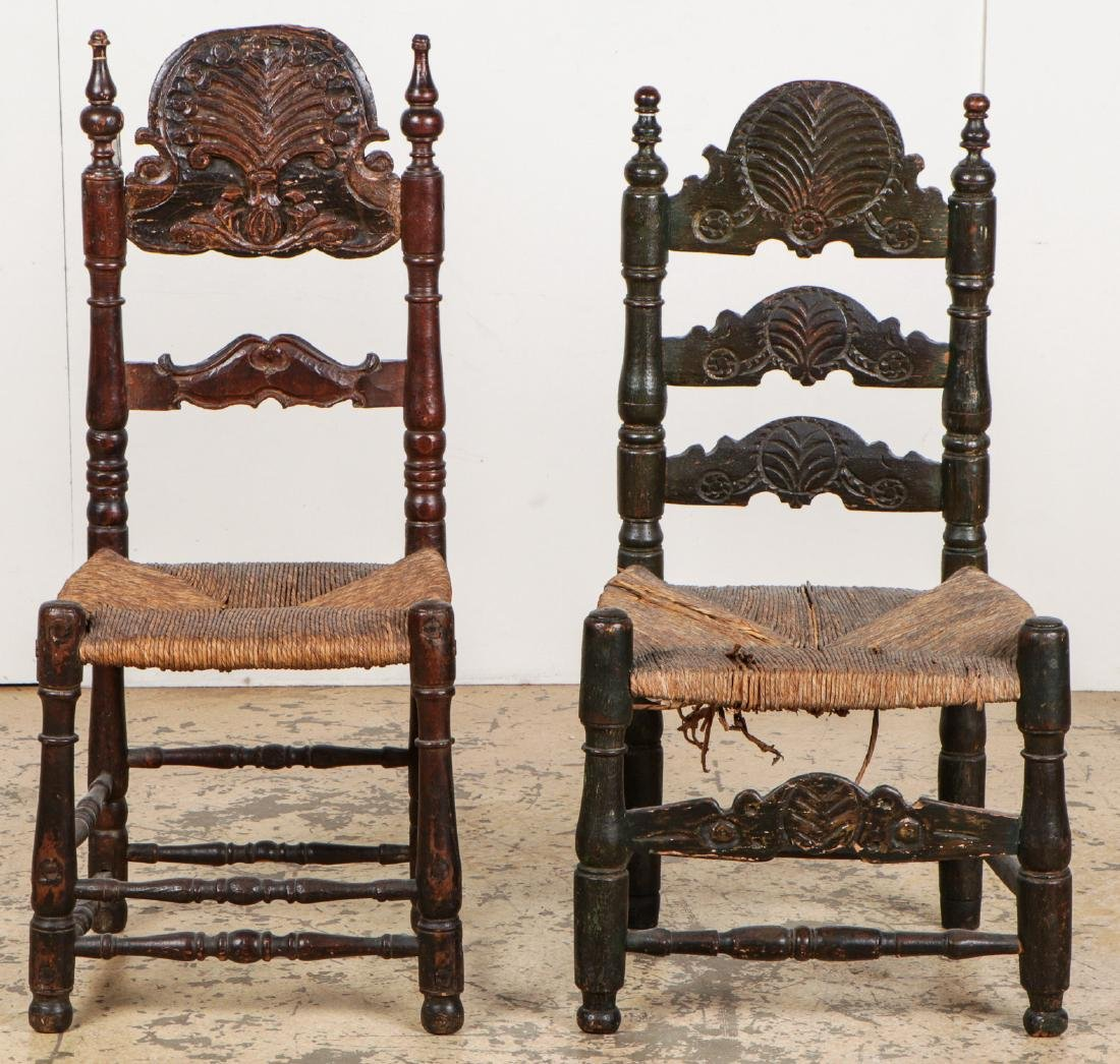 Two Antique Continental Rush Chairs