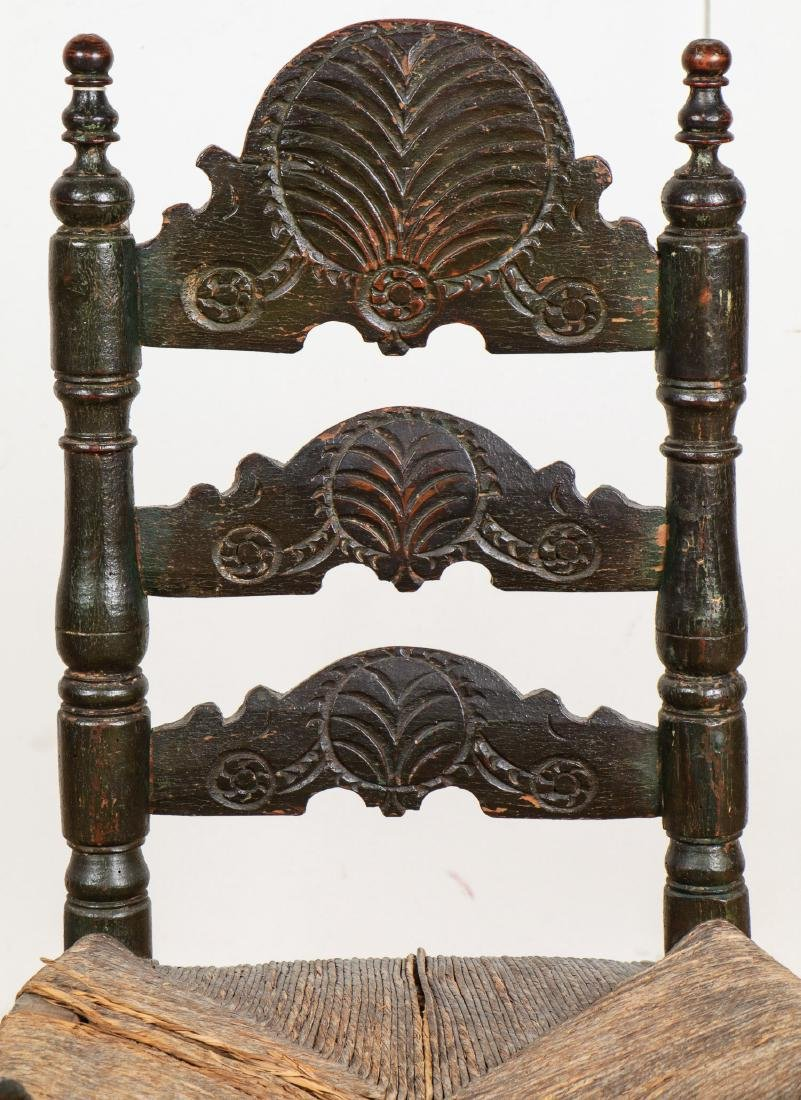 Two Antique Continental Rush Chairs - 4