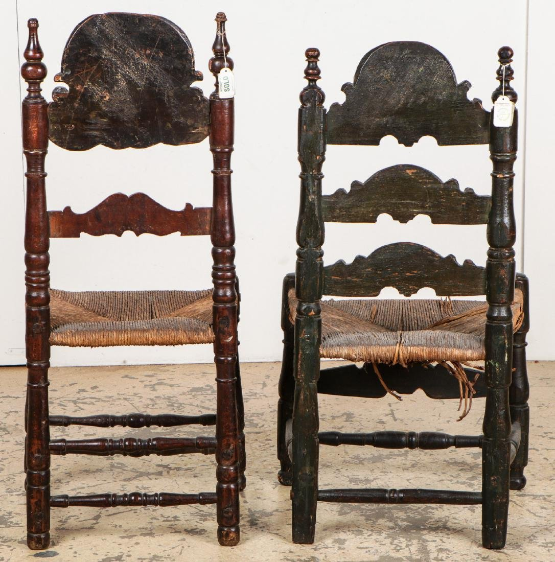 Two Antique Continental Rush Chairs - 7