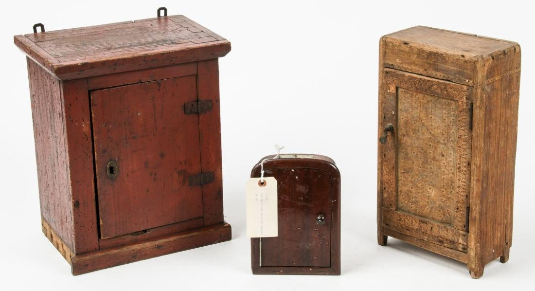 3 Small Antique Wood Cabinets